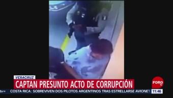 Captan presunto acto de corrupción en Veracruz