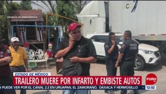 Chofer de tráiler sufre infarto y choca en carretera Texcoco-Lechería