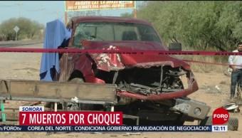 Choque en Sonora deja 7 muertos y 19 heridos