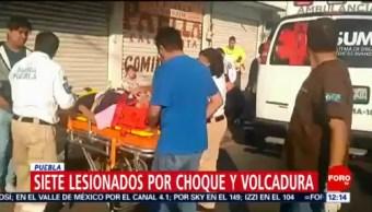 Choque y volcadura deja 7 lesionados en Puebla