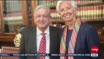Christine Lagarde se reúne con AMLO y elogia política de crecimiento inclusivo