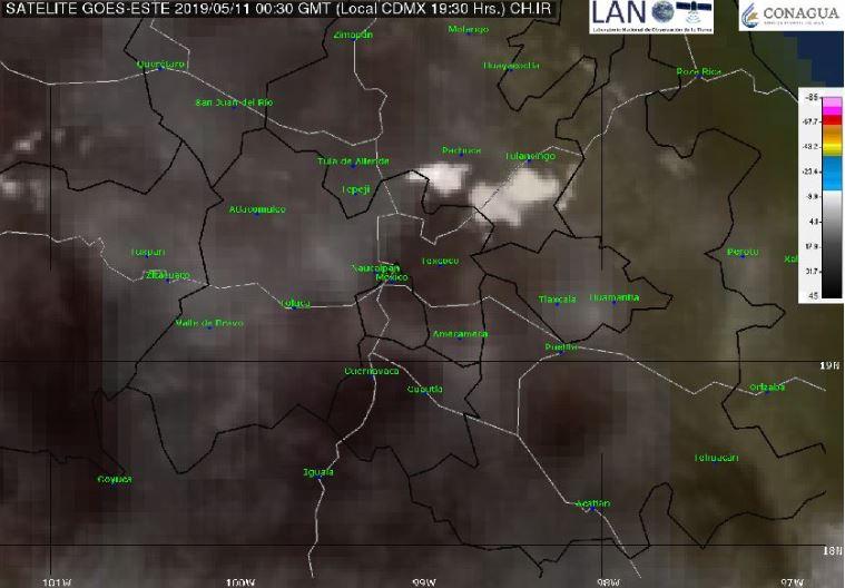 Foto:Imagen de satélite que muestra cielo despejado en el Valle de México, 11 mayo 2019