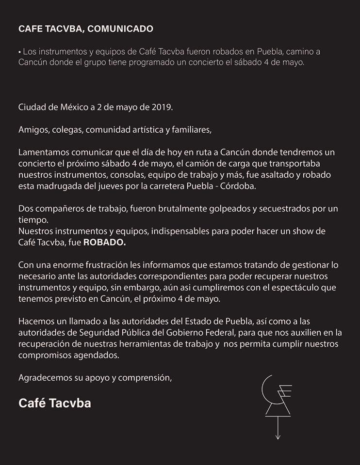 Foto Asaltan a Café Tacvba en Puebla; roban instrumentos 2 mayo 2019