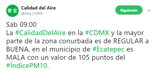 IMAGEN Mala calidad del aire en Ecatepec, Edomex (Twitter @Aire_CDMX 18 mayo 2019)