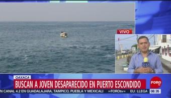 FOTO: Continúan búsqueda de joven arrastrado por el mar de fondo en Oaxaca, 25 MAYO 2019