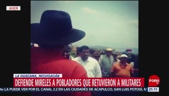 Foto: Mirles Pobladores Retuvieron Militares La Huacana Michoacán 29 Mayo 2019