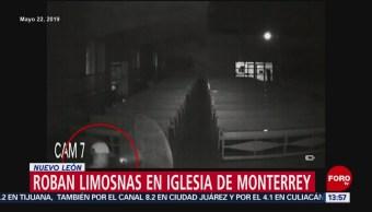 FOTO: Delincuente roba limosnas en iglesia de Monterrey