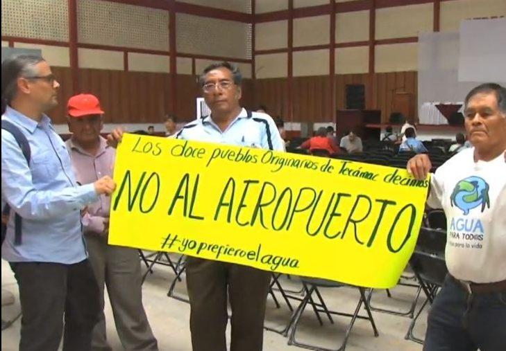 Foto Protestas reunión impacto ambiental aeropuerto Santa Lucía 31 mayo 2019