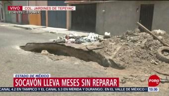 FOTO: Enorme socavón lleva meses sin ser reparado en Edomex
