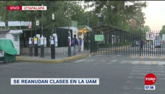 Este miércoles, alumnos de la UAM reanudan clases