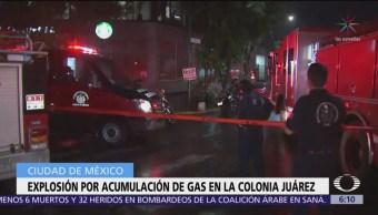 Explosión por acumulación de gas en la colonia Juárez deja tres heridos