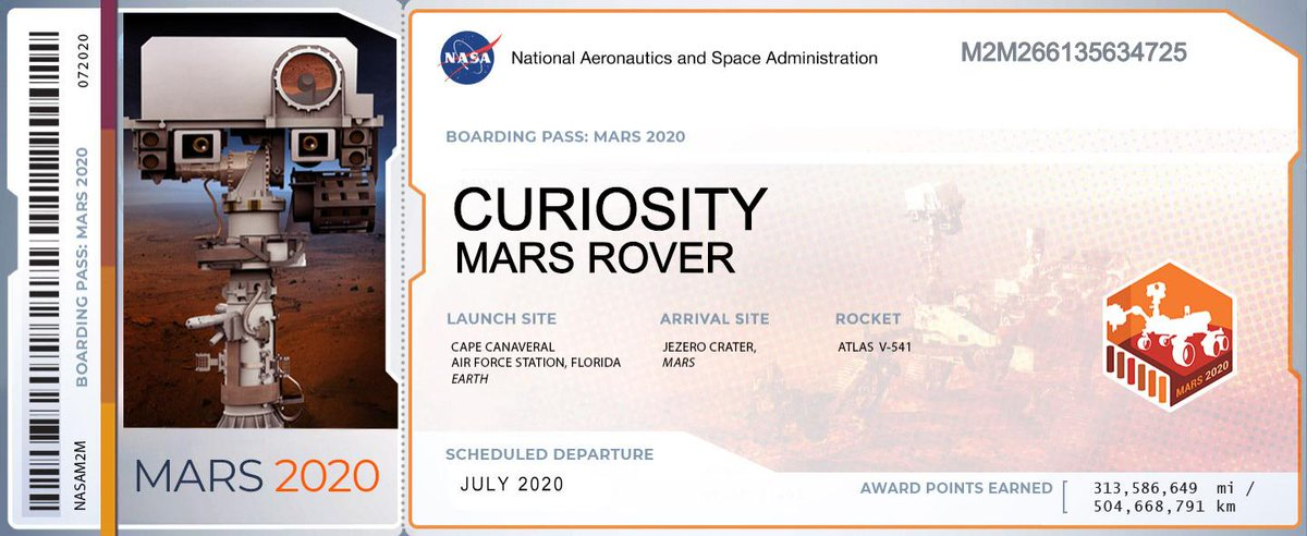 Foto: Tarjeta de embarque digitalizada de la misión Mars 2020. El 22 de mayo de 2019