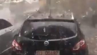 Foto: Granizada destroza autos y casas en Zalau, Rumania. El 28 de mayo de 2019