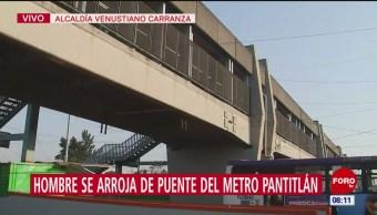 Hombre se avienta desde puente del Metro Pantitlán, CDMX