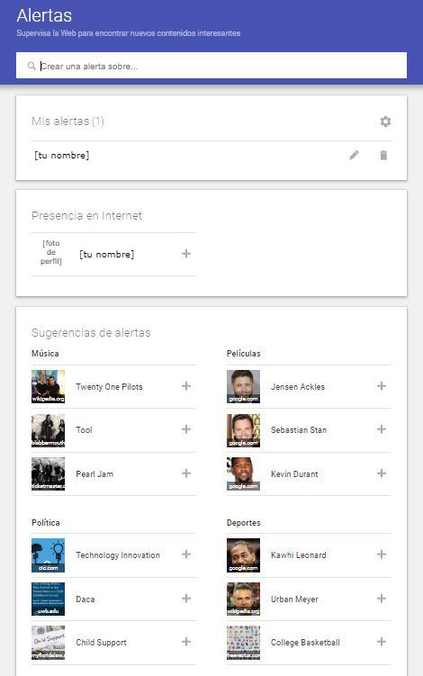 La pantalla de 'Alertas' de Google permite activar las predeterminadas de 'Presencia en internet', así como varias sugerencias, así como crear nuevas alertas según las necesidades del usuario (Google Captura de pantalla)