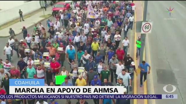 Marchan en Coahuila en apoyo a Altos Hornos