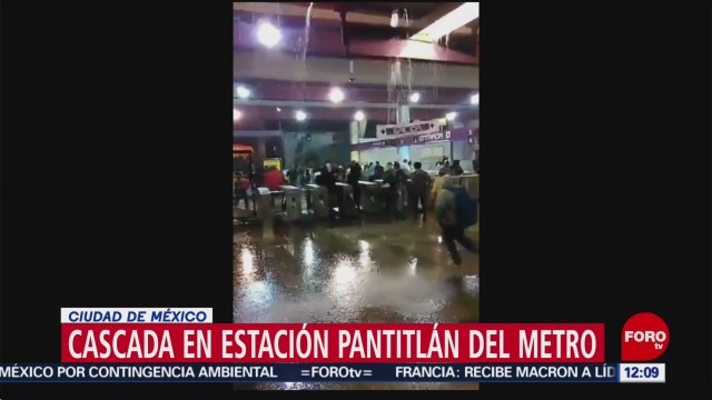 Metro CDMX registra cascada en estación Pantitlán, por lluvias