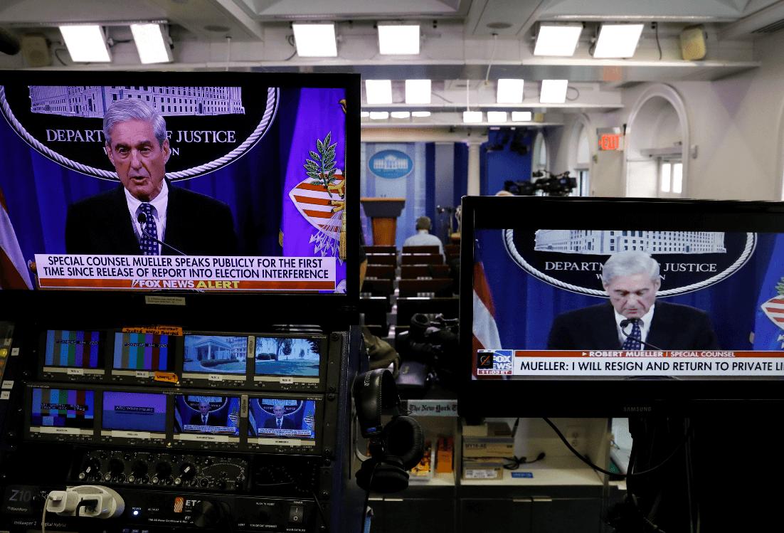 Foto: Mueller se aprecia en pantallas en la Casa Blanca, 29 de mayo de 2019, Washington, Estados Unidos