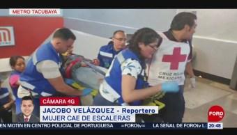 Foto: Mujer Cae Escaleras Metro Tacubaya 24 Mayo 2019
