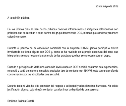 IMAGEN Emiliano Salinas afirma que renunció a NXIVM cuando supo de tatuajes en grupo D.OS. (Twitter)