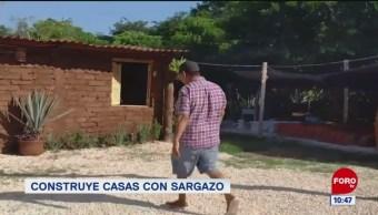 Pepenando la noticia: Construyen casas con sargazo