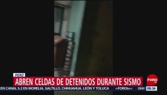 FOTO: Policías abren celdas de detenidos durante el sismo en Perú, 26 MAYO 2019