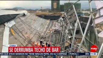 Se derrumba techo de un bar en China; mueren tres personas