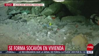 FOTO: Se forma socavón en vivienda en Miguel Hidalgo, 1 MAYO 2019