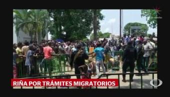 Foto: Enfrentamiento Migrantes Haitianos Cubanos Tapachula Chiapas 23 Mayo 2019