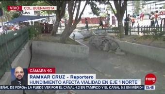 FOTO: Se registra hundimiento frente a Metro Buenavista