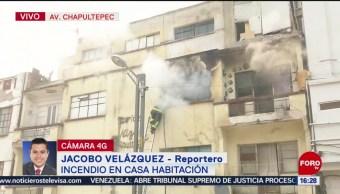 FOTO: Se registra incendio en casa habitación en avenida Chapultepec, CDMX