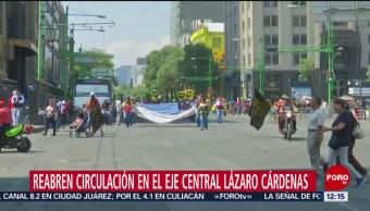 FOTO:Se restablece circulación en Eje Central tras paso de manifestantes, 1 MAYO 2019