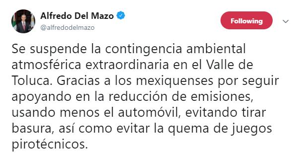 IMAGEN Suspenden contingencia ambiental en el Valle de Toluca este sábado 18 de mayo (Twitter@alfredodelmazo)