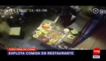 Todo Pasa En China: Explota comida en restaurante