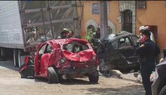 FOTO: Tráiler sin frenos impacta varios vehículos en Vasco de Quiroga, CDMX, 26 MAYO 2019