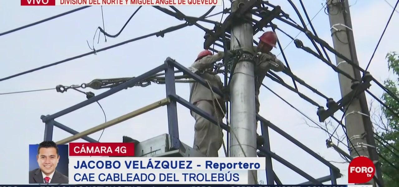 FOTO: Tráiler tira cableado de Trolebús en Dvisión del Norte, 24 MAYO 2019