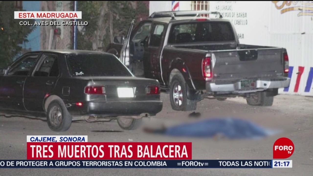 FOTO: Tres muertos tras balacera en Cajeme, Sonora, 4 MAYO 2019