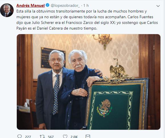Foto: Tuit de AMLO con Carlos Payán, 3 de mayo de 2019, Ciudad de México