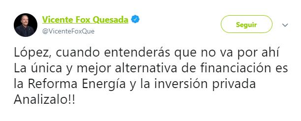 Foto: Tuit de Fox criticando a AMLO, 13 de mayo de 2019, Ciudad de México