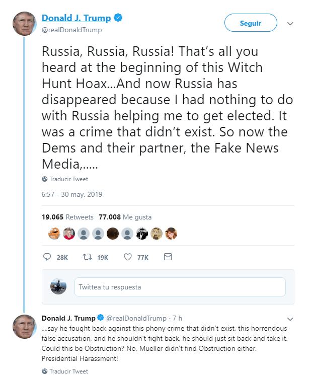 Imagen: Tuit de Trump sobre la injerencia rusa, 30 de mayo de 2019, Estados Unidos