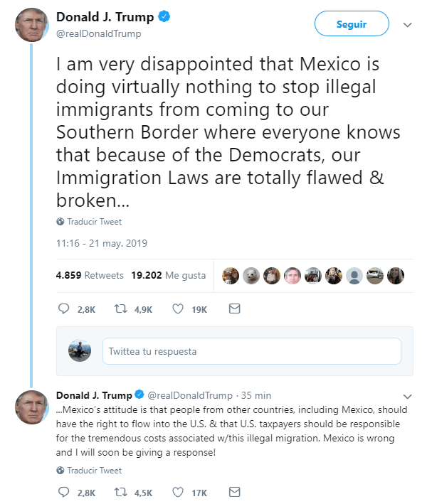 Foto: Tuits sobre migración, publicados por Trump, 21 de mayo de 2019, Washington