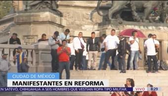 Vagoneros se concentran en el Ángel de la Independencia