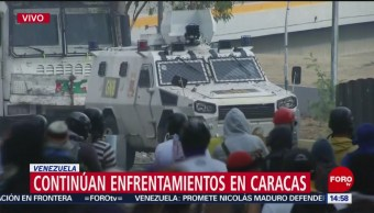 FOTO: Violentas protestas en calles de Caracas, Venezuela, 1 MAYO 2019