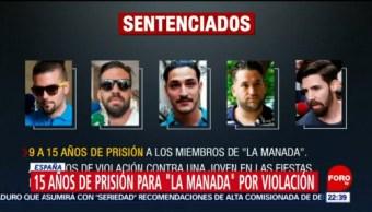 """FOTO: 15 años de prisión para """"La manada"""" por violación en España, 23 Junio 2019"""