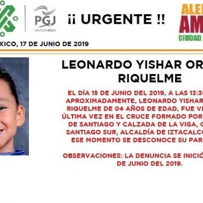 Alerta Amber: Ayuda a localizar a Leonardo Yishar Ortega Riquelme