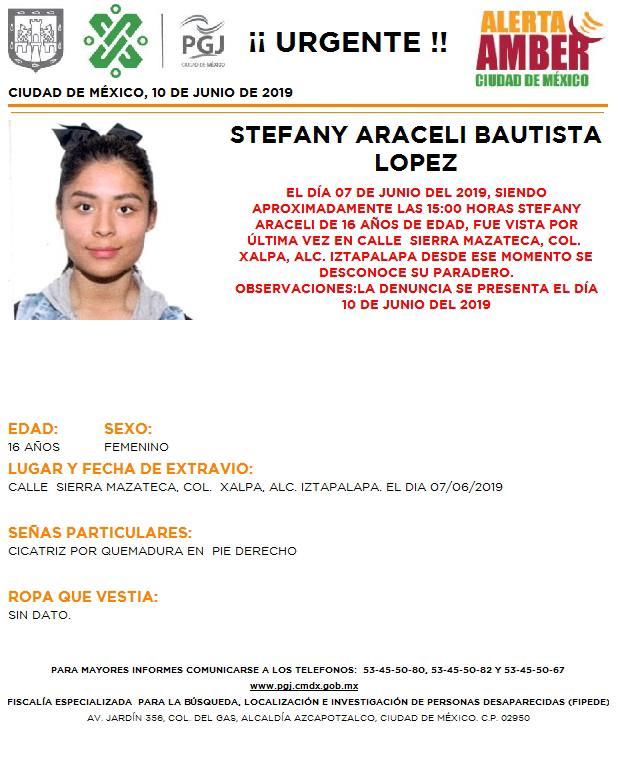 Foto Alerta Amber para localizar a Stefany Araceli Bautista López 10 junio 2019
