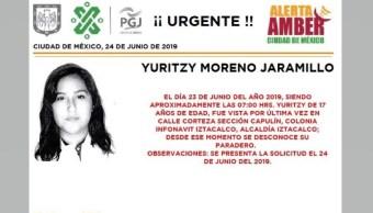 Foto Alerta Amber para ayudar a localizar a Yuritzy Moreno Jaramillo 24 junio 2019