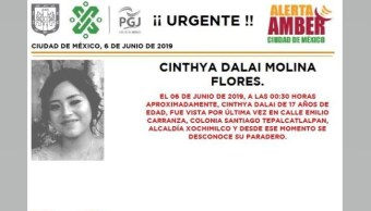 Foto Alerta Amber para localizar a Cinthya Dalai Molina Flores 6 junio 2019
