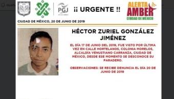 Foto Alerta Amber para localizar a Héctor Zuriel González Jiménez 21 junio 2019