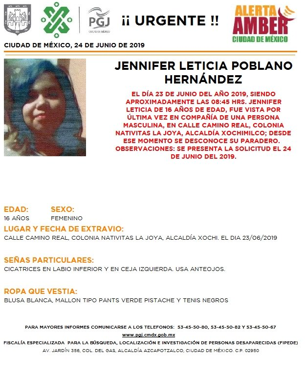 Foto Alerta Amber para localizar a Jennifer Leticia Poblano Hernández 24 junio 2019